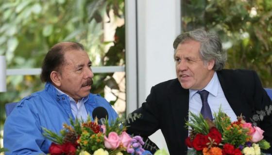 Luis Almagro junto a Daniel Ortega luego de la reunión que sostuvieron en la Secretaría del FSLN. Foto tomada del Twitter de Luis Almagro