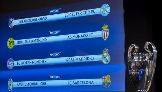 Un panel muestra los cruces de los cuartos de final de la Liga de Campeones 16/17 junto al trofeo de esta competición tras la celebración del sorteo de los mismos en la sede de la UEFA en Nyon (Suiza) hoy, 17 de marzo de 2017. EFE/Jean-Christophe Bott