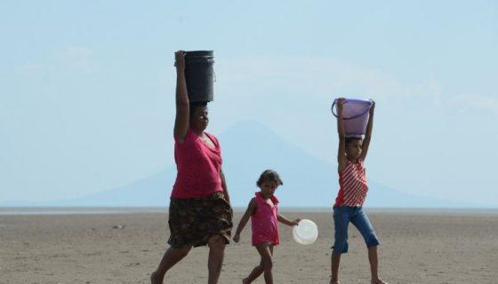 Mujeres, Niños, Agua, Sequía, Verano,