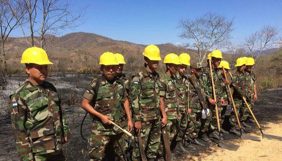 Soldados del Segundo Comando del Ejército de Nicaragua acudieron al sitio del incendio forestal para sofocar las llamas. LA PRENSA/A. LORÍO