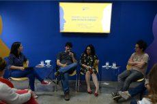 Dora Luz Romero, jefa de Información Digital de LA PRENSA (izquierda a derecha), conversa con José Luis Sanz (El Faro), Elena Salamanca y Daniel Alarcón sobre internet y nuevos medios para contar la realidad. LAPRENSA/LISSA VILLAGRA