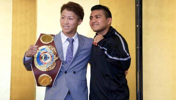 Naoya Inoue y Román González coincidieron este lunes en una conferencia de prensa en Japón. LA PRENSA/CORTESÍA/Kaz Nagatzuka