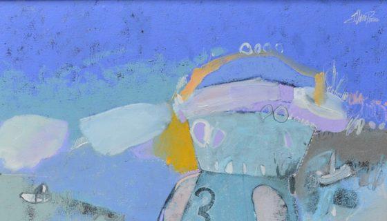 El astronauta, obra pintada al óleo por Javier Pérez Valle, forma parte de la exposición Momentos espaciales. LAPRENSA/fotos: CORTESIA